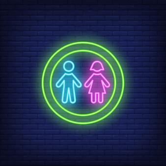Menino menina, silhuetas, em, círculo, sinal néon
