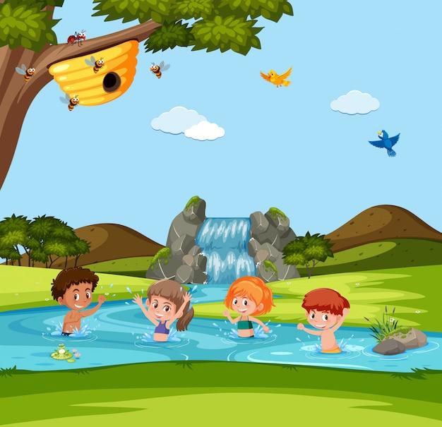 Menino menina, tocando, em, água