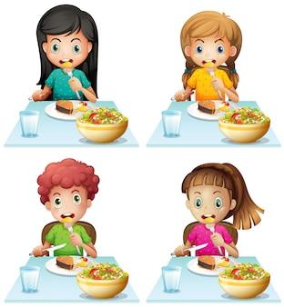Menino meninas, comer, em, a, jantando tabela