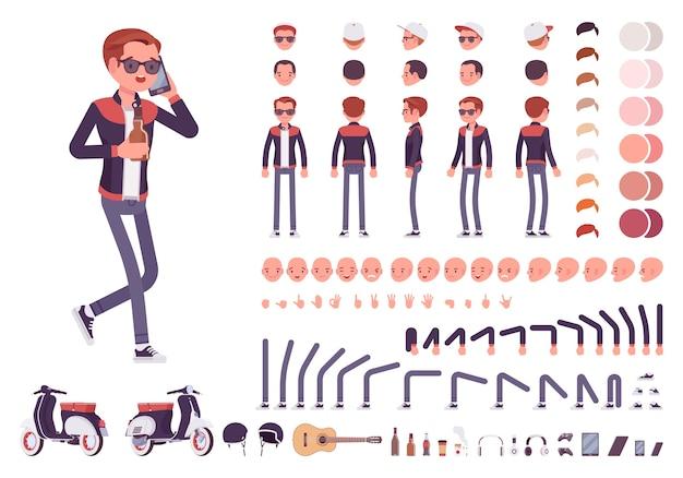 Menino milenar com conjunto de caracteres de gadgets