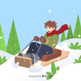 Menino, montando, sleigh, ilustração