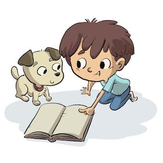 Menino, mostrando, algo, de, um, livro, para, seu, cão
