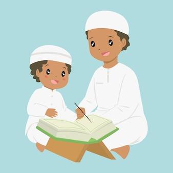 Menino muçulmano aprendendo a ler o alcorão. um pai ensinando seu filho a ler alcorão, desenho animado.