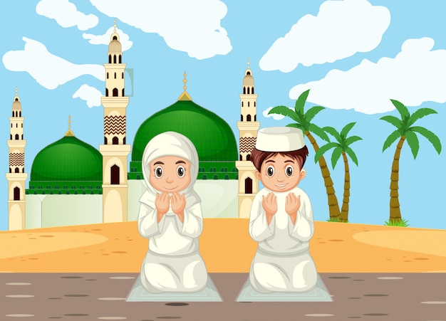 Menino muçulmano árabe e menina rezando em roupas tradicionais no fundo da mesquita
