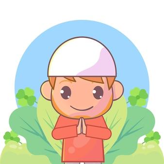Menino muçulmano cumprimentando ramadan kareem islâmico