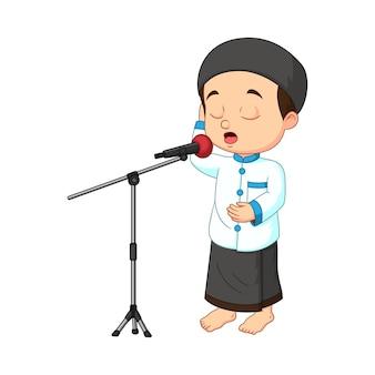 Menino muçulmano de desenho animado chamado adzan