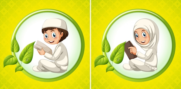 Menino muçulmano, e, menina, livro leitura