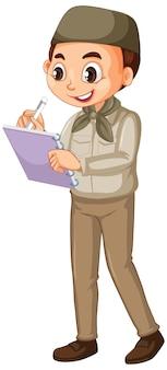 Menino muçulmano escrevendo notas em um fundo isolado