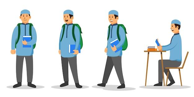 Menino muçulmano estudante universitário conjunto de caracteres plana