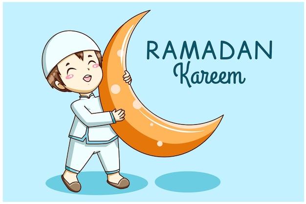 Menino muçulmano fofo com ilustração dos desenhos animados de lua ramadan mubarak