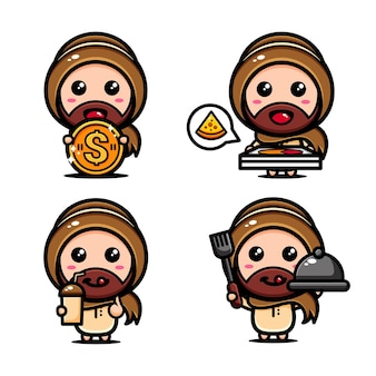 Menino muçulmano fofo com o tema pronto para comer. cartoon personagem islâmico