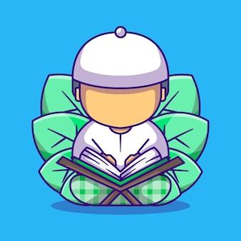 Menino muçulmano fofo lendo a ilustração dos desenhos animados do alcorão