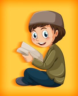 Menino muçulmano lendo o alcorão