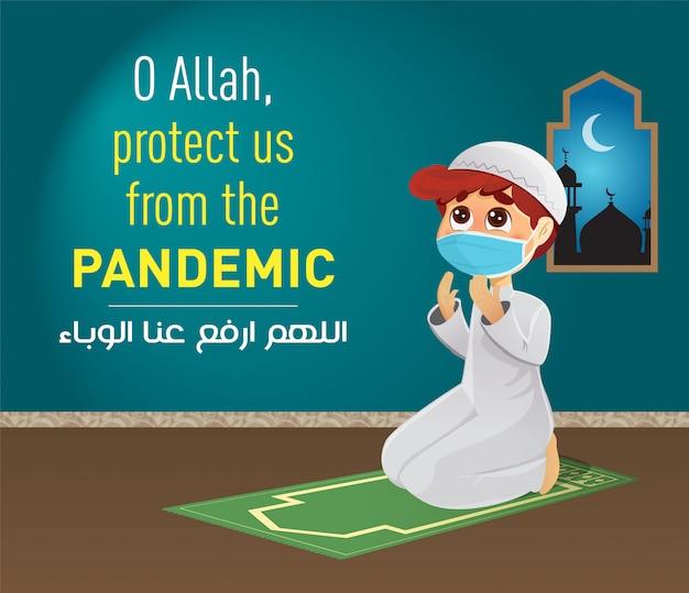 Menino muçulmano orando, proteja-nos da pandemia