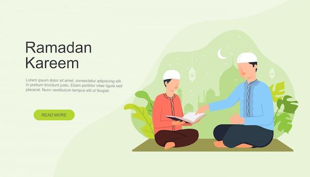 Menino muçulmano recita alcorão com o pai
