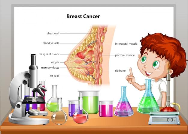 Menino na aula de ciências, explicando o câncer de mama