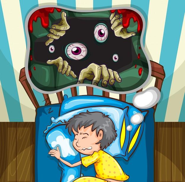 Menino na cama com pesadelo