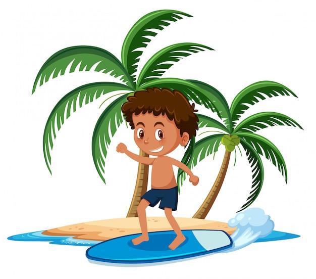 Menino na ilha tropical surf personagem de desenho animado no fundo branco