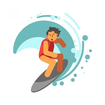 Menino na prancha de surf sob ilustração vetorial de onda