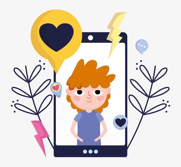 Menino na tela smartphone amor bate-papo mídias sociais