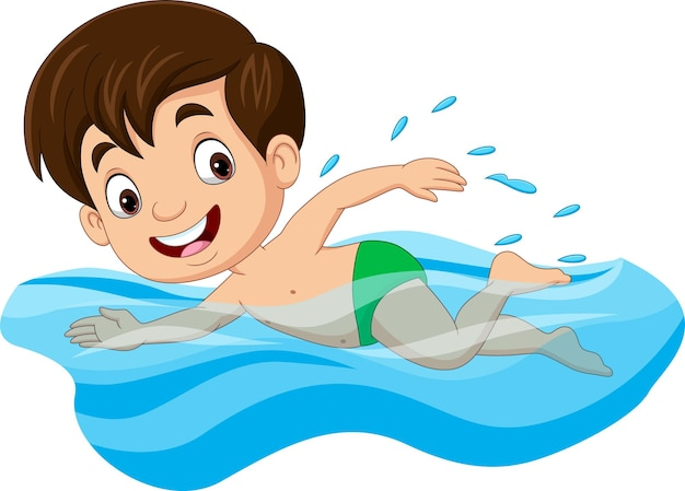 Menino nadador de desenho animado na piscina