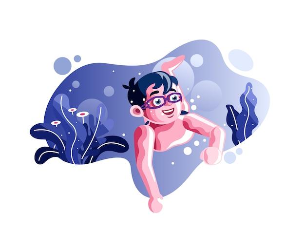 Menino nadando em ilustração vetorial subaquática