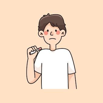 Menino não fumar triste segurando ilustração dos desenhos animados de cigarro
