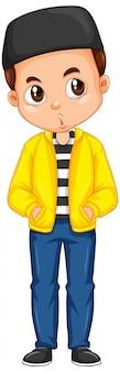 Menino no casaco amarelo isolado