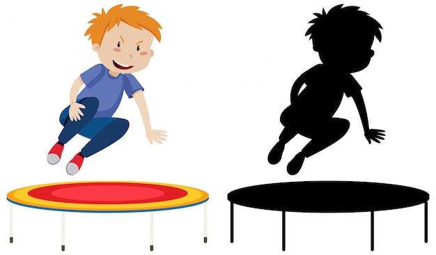 Menino no personagem de desenho animado de trampolim