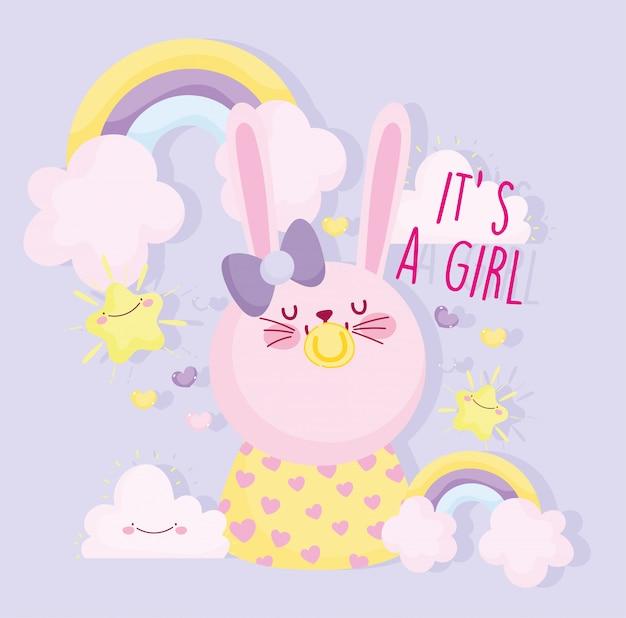Menino ou menina, gênero revelar é um coelho bonito menina com cartão de decoração de arco-íris chupeta