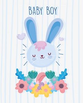 Menino ou menina, gênero revelar é um menino flor floral deixa azul cartão
