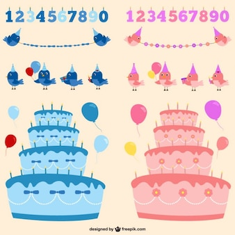 Menino ou menina vetores aniversário definir
