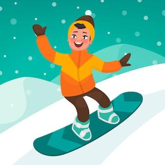 Menino patinando em uma ladeira de snowboard