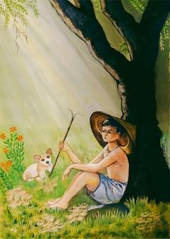 Menino pecuarista desenhado à mão em aquarela com ilustração de gato