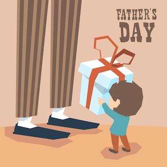 Menino pequeno, dar, presente, caixa homem adulto, pernas longas, dia pai