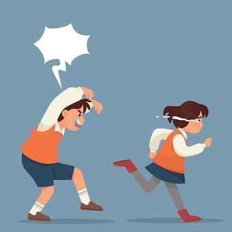 Menino perturba uma menina a correr chorando
