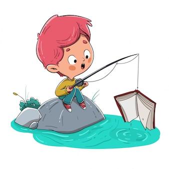 Menino, pesca, um, livro, em, a, rio