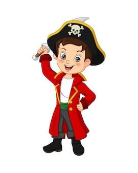 Menino pirata de desenho animado segurando uma espada