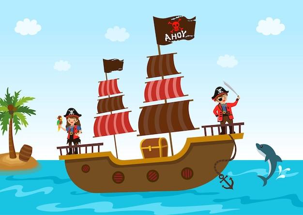 Menino pirata e menina com navio e baú do tesouro no oceano.