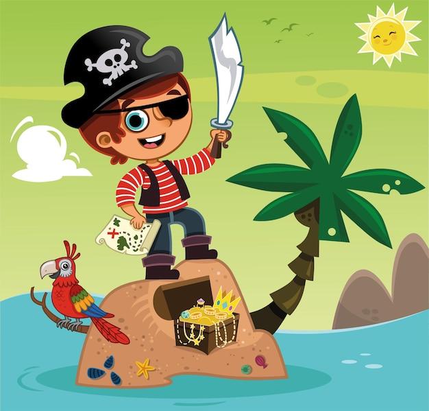 Menino pirata fofo e seu tesouro. ilustração vetorial