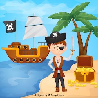 Menino pirata no fundo da praia