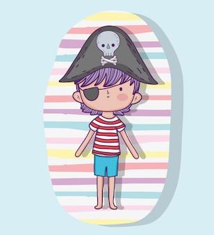 Menino pirata usando chapéu com caveira e ossos