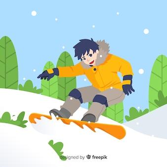 Menino, prática, snowboard, ilustração