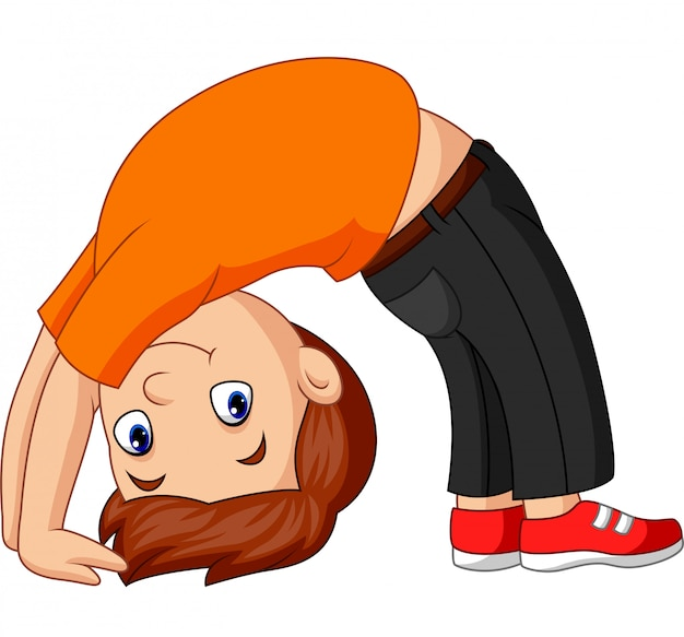 Menino, praticando, cima, arco, ioga posa