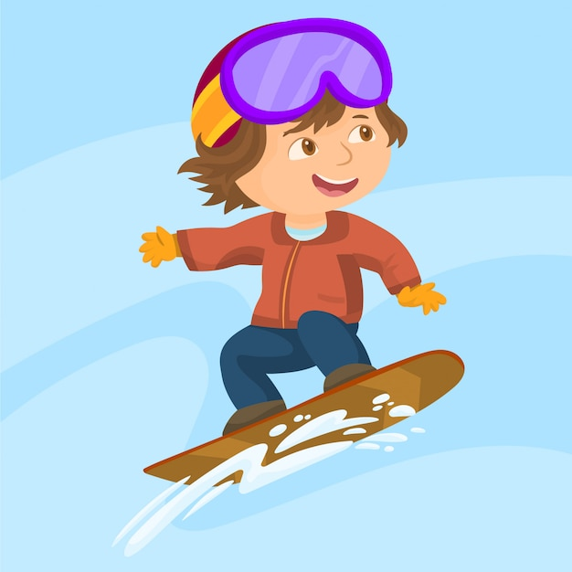 Menino pulando snowboard