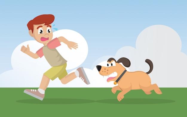Menino que corre longe do cão irritado.