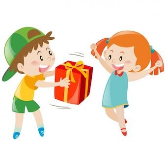 Menino que dá um presente a uma menina