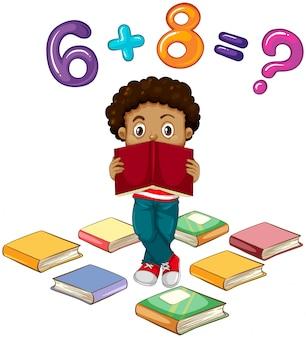 Menino, resolvendo, matemática, problema