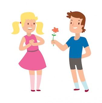 Menino romântico dos desenhos animados e menina dando uma flor para o amor