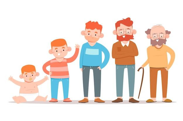 Menino ruivo em diferentes idades de sua vida